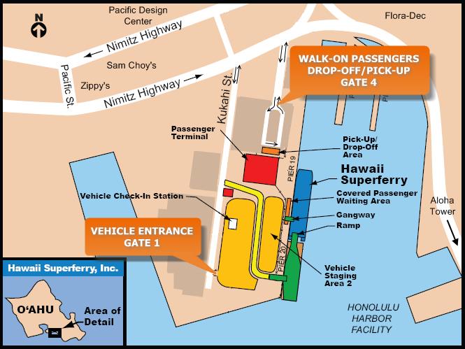 honolulu cruise terminal map Port Locations Maps Oahu To Maui Ferry honolulu cruise terminal map